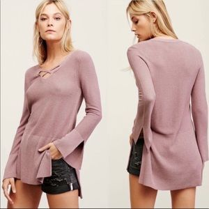 Free People Criss Cross V Neck Pullover Sweater